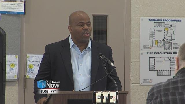 "Andre Norman, known to many as the ""Ambassador of Hope"" speaking at the W.O.R.T.H. Center on Friday."