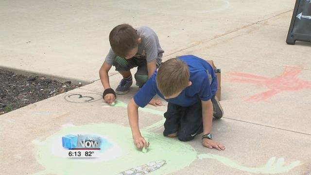 Businesses participating in the competition allow amateur artists to color their sidewalks with their creative chalk creations.