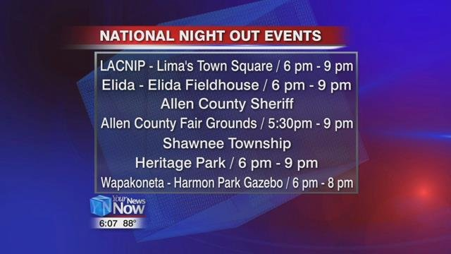 There are several National Night Out events in our area including the LACNIP celebration in Lima's town square.