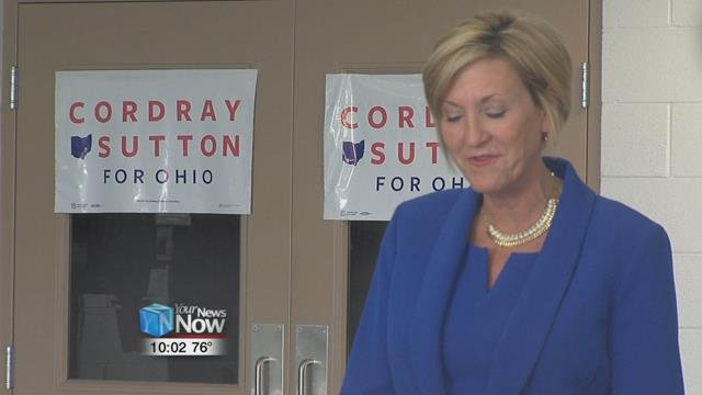 Hours after a jobs plan announcement in Cincinnati, the Democratic candidate for lieutenant governor, Betty Sutton, was in Lima promoting her ticket's agenda.