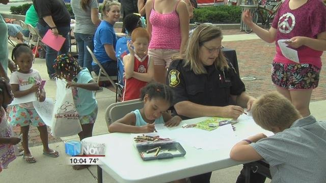 Lima's town square was full of people and fun, as the kids challenged themselves on some inflatables, there was free food to be had, and a lot of socializing with members of the Lima police and fire departments.