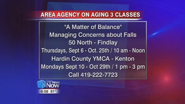 "The Area Agency on Aging 3 is offering their free class ""A Matter of Balance"" in Findlay and Kenton starting in September."