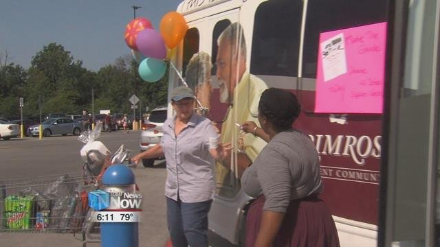 Primrose Retirement Community stuffs the bus with school supplies.
