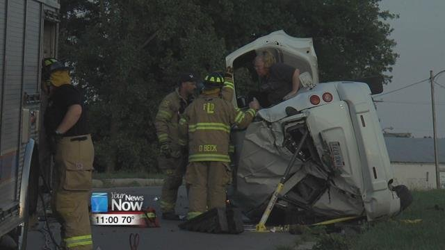 One person was taken to a hospital after a rollover accident Saturday evening.