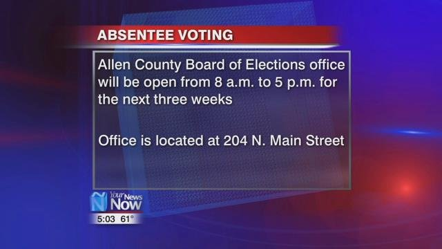 The Allen County Board of Elections will be open from 8 a.m. to 5 p.m. for the next three weeks leading up to Election Day.