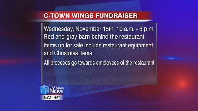 The C-Town Wings barn sale and bake sale will be held on Wednesday, November 15th from 10 a.m. to 6 p.m. at the red and gray barn behind the restaurant.