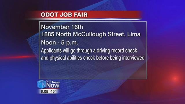 The job fair will be held Thursday, November 16th, at 1885 North McCullough Street in Lima, from noon to 5 p.m.