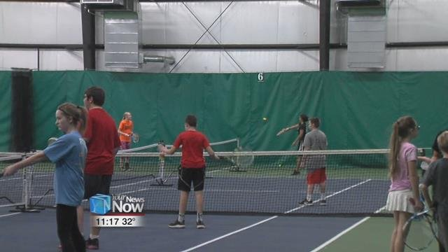 Area middle schoolers had the chance to learn how to play tennis from the pros Sunday afternoon at the Westwood Tennis and Fitness Center.