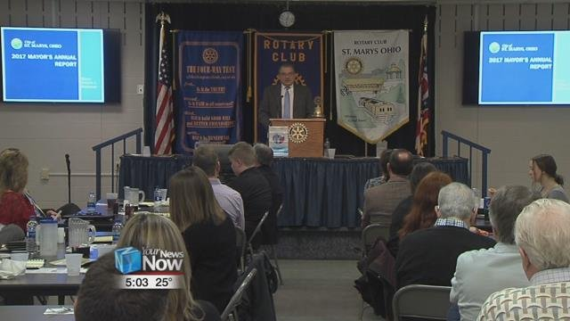 St. Marys mayor Pat McGowan talked about the state of the city, which included work on the canal, lake clean up, and continuing work improvements.