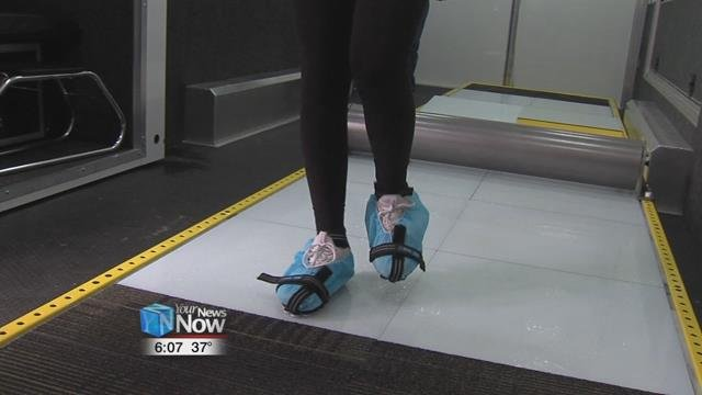"""The new technique of""""walking like a soldier"""" helps employees to stay safe by forcing more of the bottom of thefoot, to make contact with the slippery surface."""