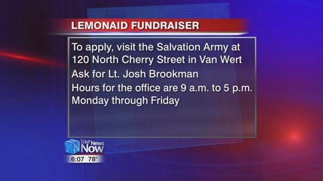 To participate in the fundraiser, visit the Salvation Army offices at 120 North Cherry Street in Van Wert and ask for Lt. Josh Brookman for the registration sheet.