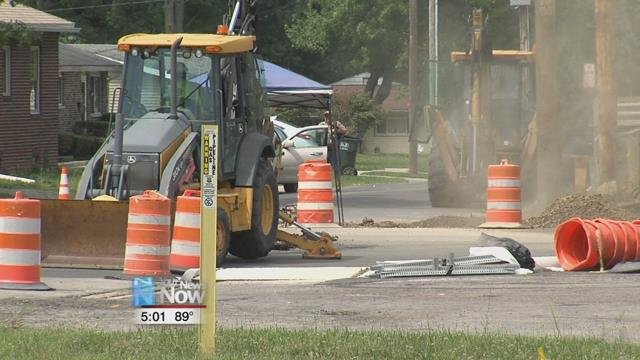 Around 11:45 Monday morning, a utility line near the corner of West Street and Northern Avenue was hit, causing the fire department to shut down the area.
