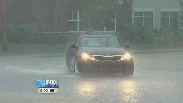 The City of Lima experienced some flash flooding Thursday night as heavy downpours overwhelmed storm drains causing street flooding.