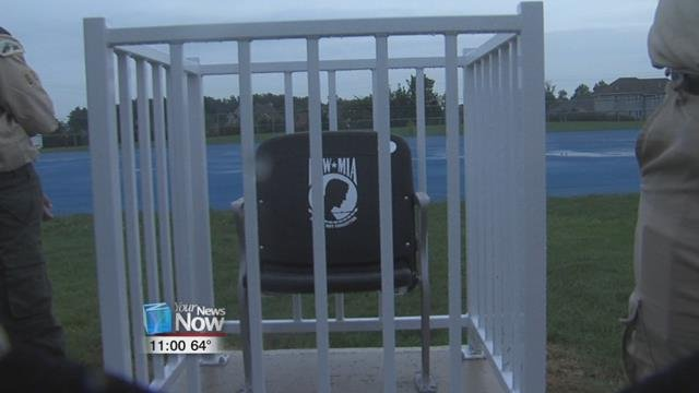 A POW-MIA Chair of Honor has been installed on the south end of the field and will sit empty in recognition of those soldiers who cannot come home.