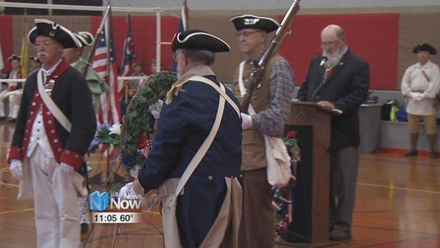 Because of a rainy Saturday morning, The Ohio Society of the Sons of the American Revolution was forced to move their memorial service inside for Israel Hubbard Junior.