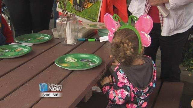 The Children's garden had treats such as watermelon that the butterflies are drawn to so that the kids could play with them before they take off.