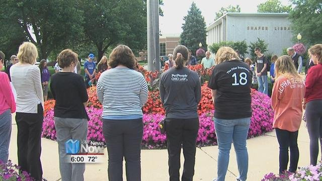 A special service was held outside the old main building, where a group gathered to spend a moment of silence together as well as share a prayer for the people affected by the attacks back in 2001.