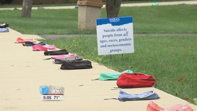 600 backpacks have been placed around campus and that only represents a little over half the number of suicide deaths on college campuses from 2017, according to the World Health Organization.