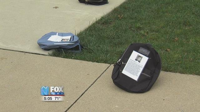 Each backpack has a story of a student who died from suicide on a college campus.