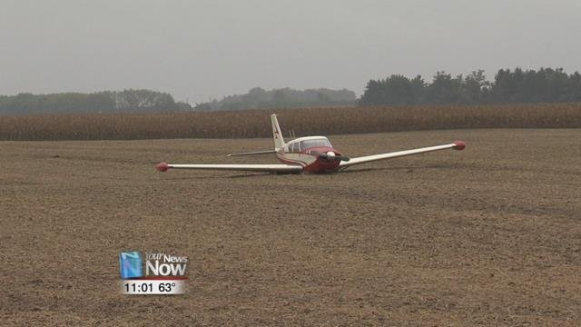 The single-engine plane was forced to land in a field near the intersection of Roads 5-F and H, just northeast of Ottawa, after losing its engine and ability to radio.