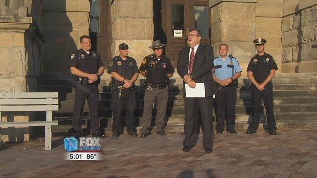 The county prosecutor, sheriff, and the police chiefs in Auglaize County gathered this morning on the steps of the courthouse to urge voters to say no on the November ballot.