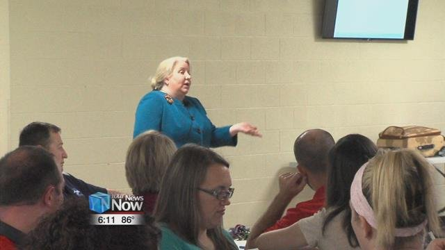 Dr. Ellen Wedemeyer spoke to the staff about working with students that have special needs.