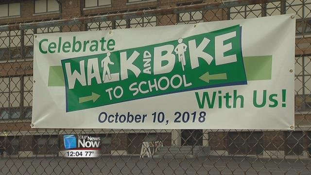 Delphos Schools and Delphos St. John's students had the opportunity to walk or ride their bike to school and were greeted throughout the city by police officers, firefighters, and city officials.