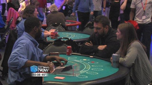 In true Vegas style, people got to try their luck with poker, craps, or other skill games.