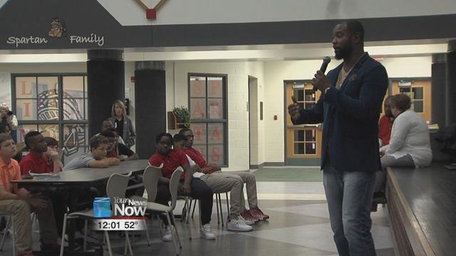 Otis Winston was at West Middle School this morning as part of their Motivational Monday.