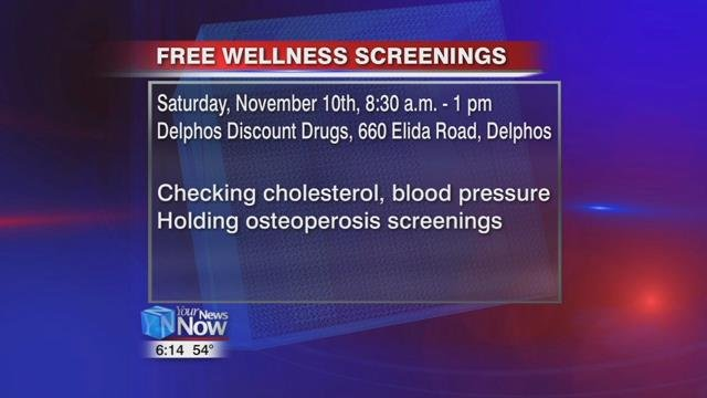 The ONUstudents and Delphos Discount Drugs will also be working together to hold a free wellness screening Saturday, at their location at 660 Elida Avenue in Delphos from 8:30 a.m. to 1 p.m.