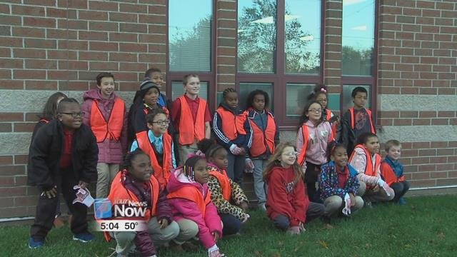 The K-Kids at Unity Elementary spent part of their morning cleaning up around the school.