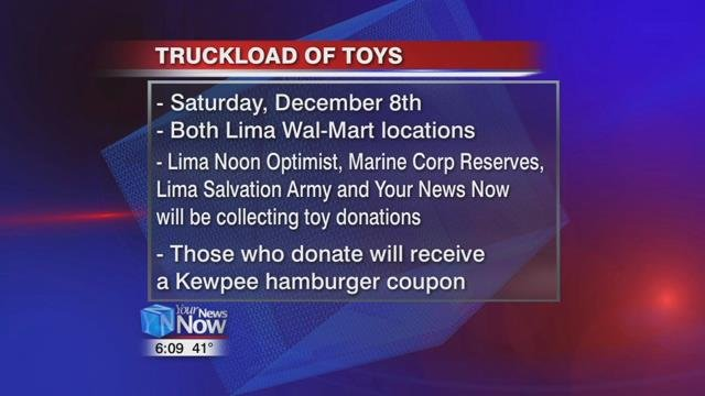 You can join the Lima Noon Optimist, Marine Corp Reserves, Lima Salvation Army, and Your News Now personalities at our Truckload of Toysevent on Saturday, December 8th at both Lima Wal-Marts.