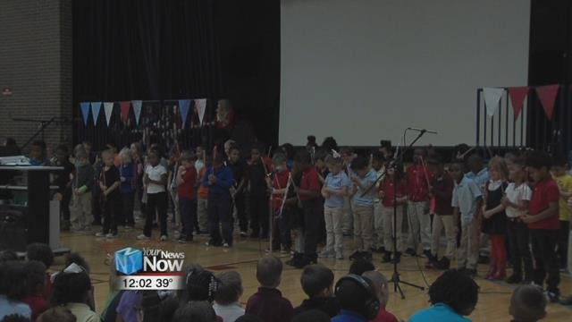 They sang songs and played instruments to honor those who served.