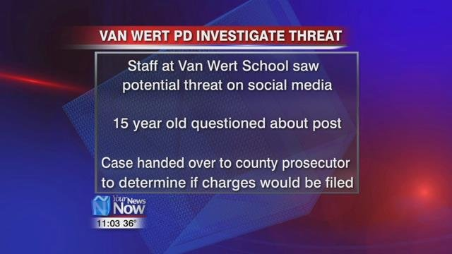 According to the Van Wert Police Department, they were called out to the school after a member of the staff found a potential threat on social media.