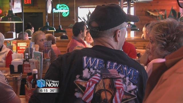 The restaurant offered the free meal from 11-2 p.m. to honor those who served.