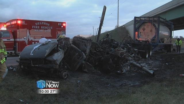 The pickup truck struck a semi-truck head on, causing both vehicles to catch on fire.