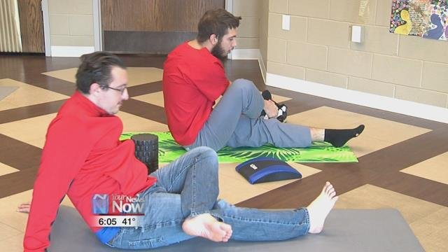 The We Care Regional Crisis Center in Lima invited councilwoman Carla Thompson in today to teach clients some yoga.