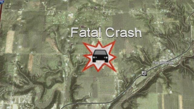According to the Shelby County Sheriff's Office, the rollover crash happened just after 1 p.m. in front of 17400 Mason Road, west of Port Jefferson.