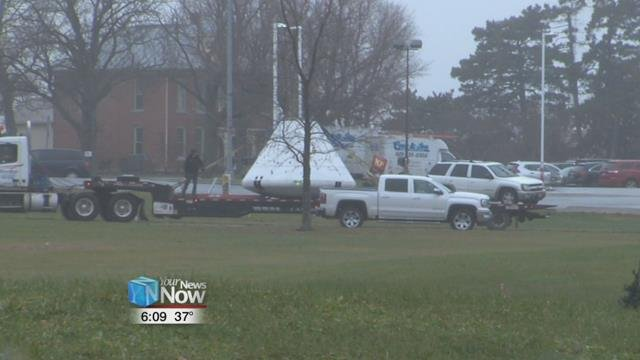 Next to get a spruce up, is the mock-up of the Apollo 11 Capsule, as it left the museum grounds Friday.