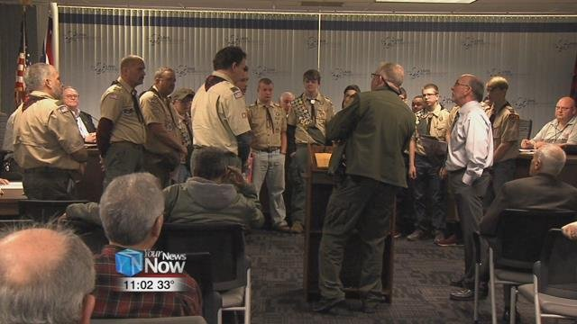 A Lima Boy Scout received honors Monday night for improving his hometown with his Eagle Scout project.