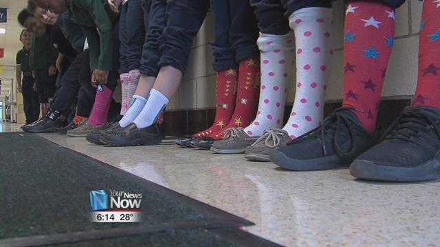 Socks of all different colors and designs were donned by the students and staff.